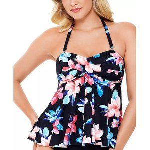 Swim Solutions Black Floral Tankini Swim Top Sz 12